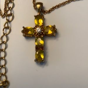 🔥New Listing🔥Avon Vintage Citrine Cross Necklace